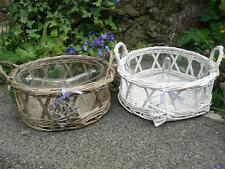 WHITE OR WICKER GREY DIVIDED DISH BOWL WILLOW RUSTIC COUNTRY TABLE KITCHEN NEW