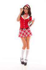 Sexy Adult Halloween Academy Heart Throb School Girl Costume Uniform