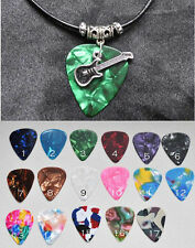 Guitar Pick Pendant Necklace with Horizontal Guitar Charm Music Unisex gift
