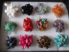 Chunky stretchy seed bead & semi-precious stone/mineral Chip Ring - 12 to choose