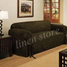 MICRO-SUEDE SLIPCOVER SOFA LOVESEAT CHAIR FURNITURE COVER, OLIVE BLACK BROWN