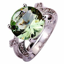 Green Amethyst & White Topaz Gems Silver Fashion Ring Size 6 7 8 9 10 11 12 13