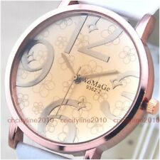 Big Numbers Brown Convex Mirror Leather Band Women Lady Girl Quartz Wrist Watch