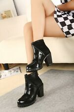 2013 Fall Fashion Round-heeled boots thick rubber sole shoes mixed material