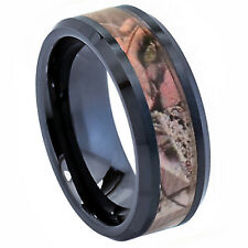 8MM CERAMIC MEN / WOMEN WEDDING RING BAND W/OLD ROSE & BLACK TIMBER FIBER INLAY