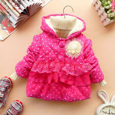 Girls Toddler kids Hoodies Clothes Jacket Winter Lace Warm Coat Outwear 1-4Years