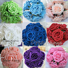 50 Real Touch Roses Wedding Bridal Bouquets Centerpiece Flowers Home Decoration