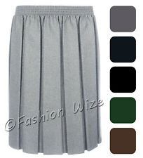 Ladies Skirt Pleated Elasticated Waist Black Grey Navy Womens Smart Casual
