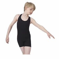 Men and Boys Dancewear, Cotton Lycra Dance Unitard, Sleeveless, Cycle Short Legs