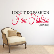 Coco Chanel I am Fashion Quote Wall Decal Sticker Art Vinyl Mural Home Decor