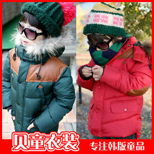 New Boys Toddlers Faux Fur Hoodies Winter Warm Coat Kids Jacket Snowsuit Sz4-8Y