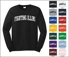 Fighting Illini College Letter Team Name Long Sleeve Jersey T-shirt