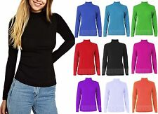WOMENS LADIES RIBBED POLO NECK JUMPER STRETCH HIGH NECK LONG SLEEVES TOP 8-14