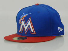 New Era Men's Fitted Hat 59FIFTY MLB Miami Marlins Royal Blue Red White Orange