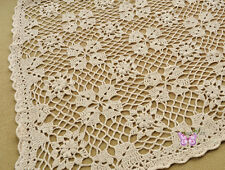 "Country Hand crochet Linen Table cloth Afghan Throw Blanket 50X60"" White/Beige"