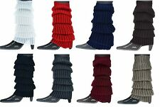 NEW SOLID Leg Warmer Womens Fashion Crochet Knit Winter Legging Socks
