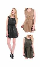 Women Sleeveless Faux Leather Short/Mini fit and Flare Skater Dresses/Skirts