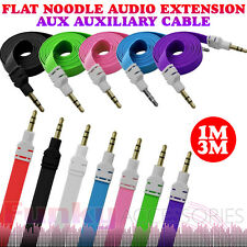 3m FLAT NOODLE AUX AUXILIARY AUDIO JACK 3.5mm CABLE LEAD FOR SAMSUNG GALAXY