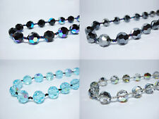 "Vintage Crystal Necklace Czech 14mm Faceted Glass Beads 18"" Strand String"