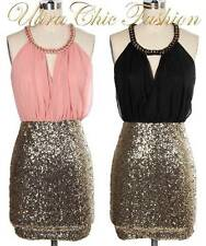 NEW SEXY S M L 6 8 10 12 PEACH BLACK GOLD SEQUINS CHAIN NECK CLUB PARTY DRESS