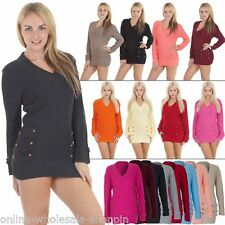 New Womens Ladies 14 Button V Neck Sexy Knitted Jumper Dress Top Size 8-10-12-14