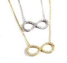 CZ Infinity Necklace, Sterling Silver or Gold Vermeil