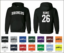 Broncos Custom Personalized Name & Number Adult Jersey Hooded Sweatshirt