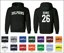 Dolphins Custom Personalized Name & Number Adult Jersey Hooded Sweatshirt