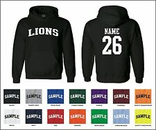 Lions Custom Personalized Name & Number Adult Jersey Hooded Sweatshirt