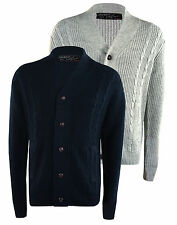 Mens Cable Knit Shawl Neck Button Cardigan Thick Warm Winter Sweater Knitwear