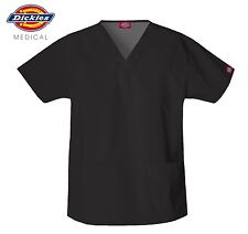 DICKIES MEDICAL SCRUBS UNISEX BLACK V-NECK TWO POCKET TOP (NEW, Sizes XS-XL)