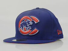 New Era Men's Fitted Hat 59FIFTY MLB Chicago Cubs Blue Red White