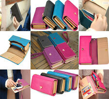 New 4 Colors Handy Women Elegant PU Leather Purse Lady Long Handbag Wallet