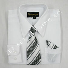 BOYS WHITE LONG SLEEVE DRESS SHIRT WITH MATCHING TIE (NEW, Sizes 4 to 20)