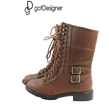 NEW Womens Fashion Shoes Military Combat Boots Mid Calf Lace Up Tan Buckle Zip