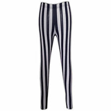 LADIES WOMENS GIRLS SEXY THIN NAVY STRIPE WHITE TIGHT LEGGINGS SIZE 8 -14