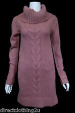 NEW Caprice LADIES WARM CHUNKY KNIT POLO ROLL NECK LONG JUMPER sz 8-16 PINK