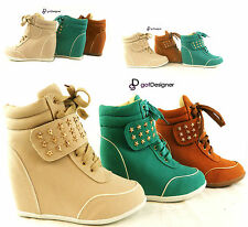 NEW Womens Fashion High Top Hidden Heels Sneakers Wedges Boots Shoes Lace Up
