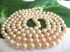 """47"""" 120cm AAA Long 8mm Real Cultured Freshwater Pearl Necklace Gift RRP £100"""
