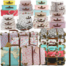 Vintage Floral Suitcases Set Of 3 Storage Boxes And A Choice Of School Suitcase