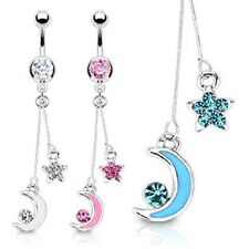 316L Surgical Steel Star and Moon Epoxy and CZ Dangle Navel Belly Ring