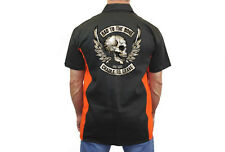 MEN'S ORANGE & BLACK MECHANIC WORK SHIRT Bad to the Bone CRADLE GRAVE SKULL M-5X