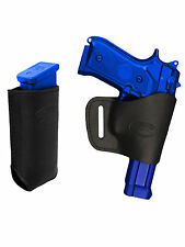 Barsony Black Leather Yaqui Gun Holster w/Mag Pouch for Colt, Browning Full Size