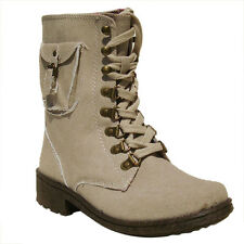 Women's Qupid Beige Round Toe Lace Up Military Bootie (Missile13)