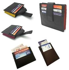DESIGNER SLIM THIN WALLET OYSTER TRAVEL CARD MENS WOMEN REAL GENUINE LEATHER