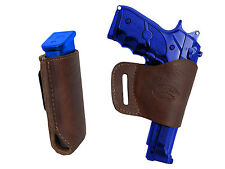 Barsony Brown Leather Yaqui Gun Holster w/Mag Pouch for Smith & Wesson Full Size