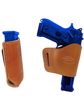 Barsony Saddle Tan Leather Yaqui Holster w/Mag Pouch for Smith&Wesson Full Size