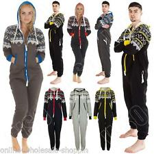 Mens Womens Ladies Unisex Aztec Print Zip Up All In One Fleece Jumpsuit Onesie