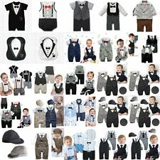 Baby Boy Wedding Suits Tuxedo Bowtie Christening Romper One Piece Outfit 0-24M