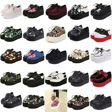 WOMENS LADIES LACE UP PUNK GOTH STUD DOUBLE PLATFORM FLAT CREEPER SHOES